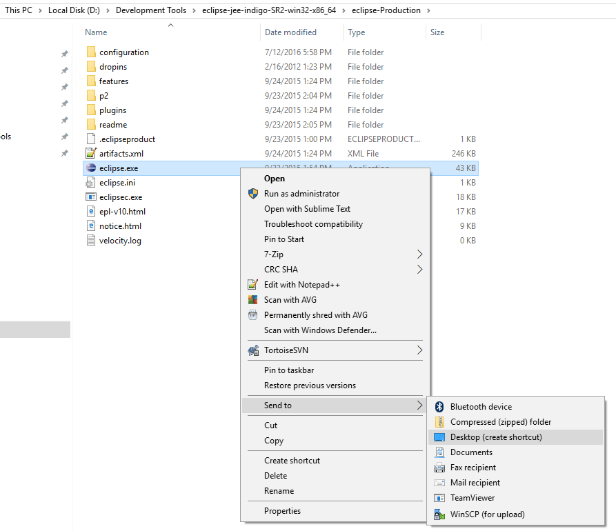 Create shortcut for applications or folders