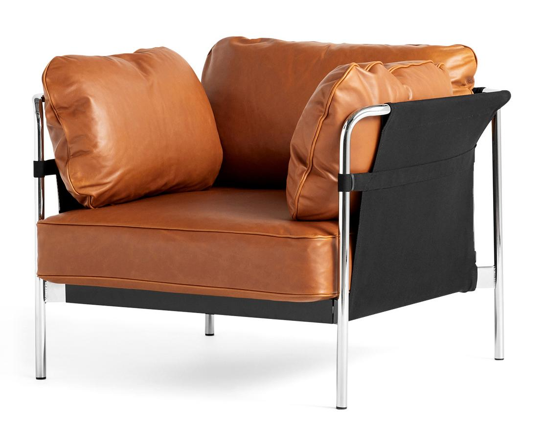 Sessel Leder Cognac Hay Can Lounge Chair 2.0, Leather Silk 0250 - Cognac, Chrome By Ronan & Erwan Bouroullec - Designer Furniture By Smow.com