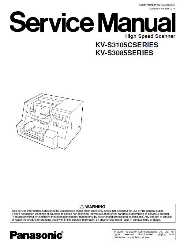 Panasonic KV-S3085/KV-S3105C Service Manual Download in pdf