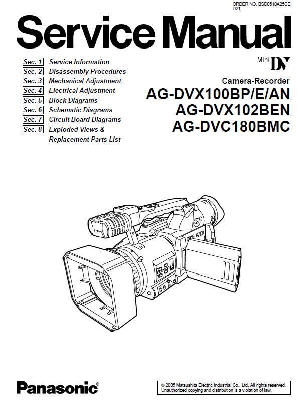Panasonic AG-DVX100BP/AG-DVX100E/AG-DVX100AN/AG-DVX102BEN