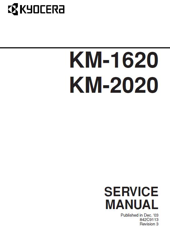 Kyocera KM-1620/KM-2020 Service Manual Download in pdf