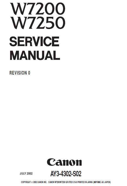 Canon W7200 / W7250 Service Manual Download in pdf