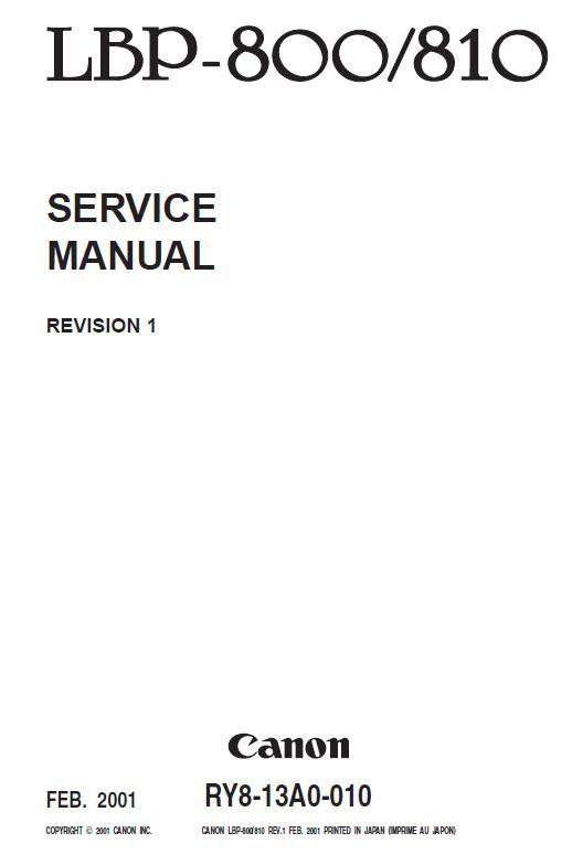 Canon LBP-800/LBP-810 Service Manual Download in pdf