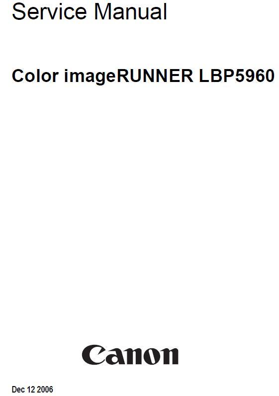 Canon Color imageRUNNER LBP5960 Service Manual :: Canon