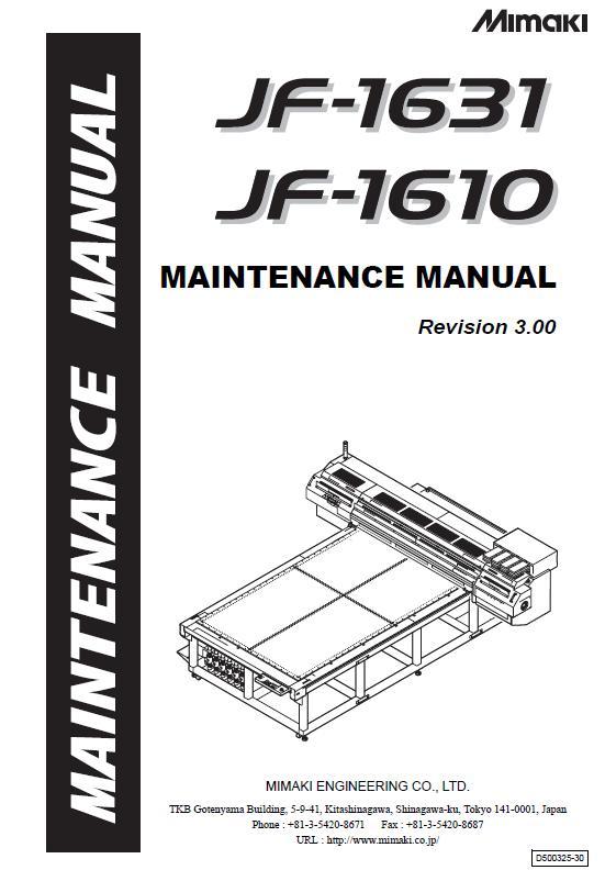 Mimaki JF-1610/JF-1631 Maintenance Manual :: MIMAKI