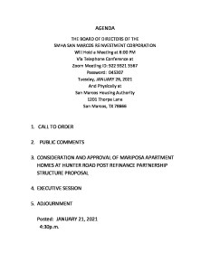thumbnail of Board Agenda San Marcos Reinvestment Corporation january 26 2021