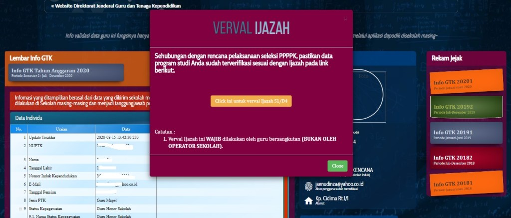Verval Ijazah di Laman info.gtk.kemdikbud.go.id