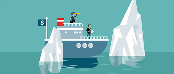 Illustration of a boat passing icebergs.