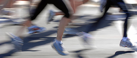 Runners' legs on the move.