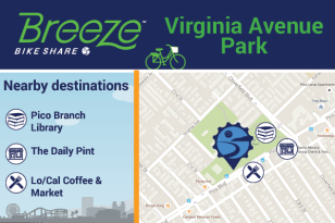 Virginia Ave Park connects to Pico Library, The Daily Pint, Lo/Cal Coffee & Market