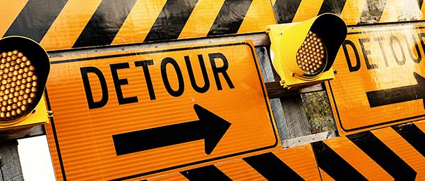Detour signs.