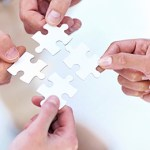 Four hands holding four jigsaw puzzle pieces.