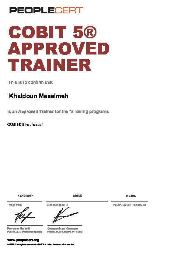 Cobit5 Approved Trainer Khaldoun Masalmeh
