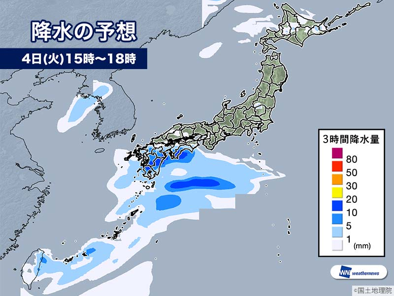 6月4日(火)の天気 西日本で雨 東日本は晴れて真夏日の所も - ウェザーニュース