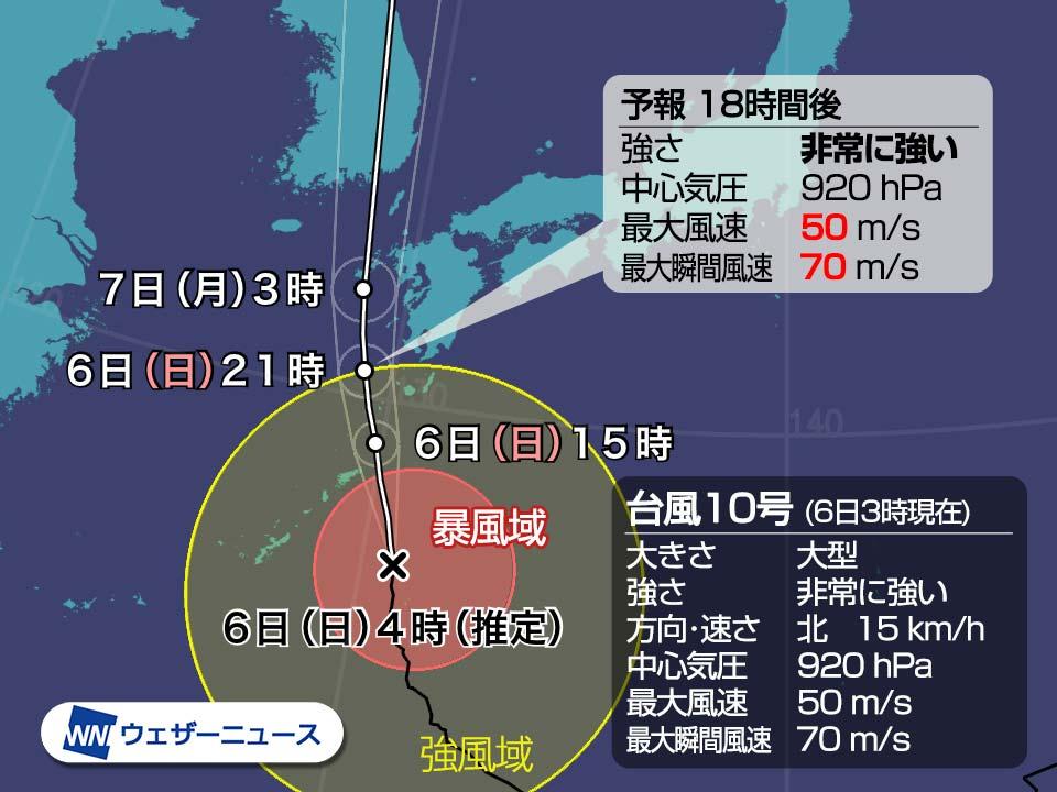 臺風10號情報 大型で非常に強い勢力で今夜九州最接近 2020年の臺風情報・進路予想 - ウェザーニュース