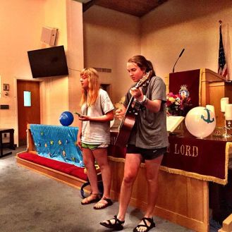 Thankful for our students and their many gifts! Avery and Ellie leading worship for us