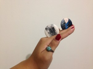 My Sherlock pin and a vintage camera pin.