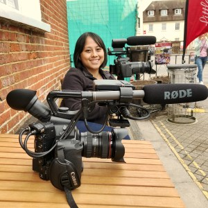 Listya posing with the Canon C300 and Canon 60D. Taking a break from Filming Yayu and the Wimborne Folk Festival