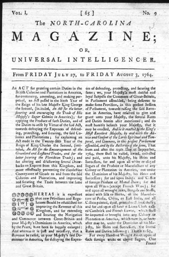 The Sugar Act described in The Newbern Gazette - Friday, 3 Aug 1764