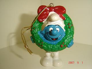Smurf med julkrans