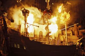 pirate ship on fire