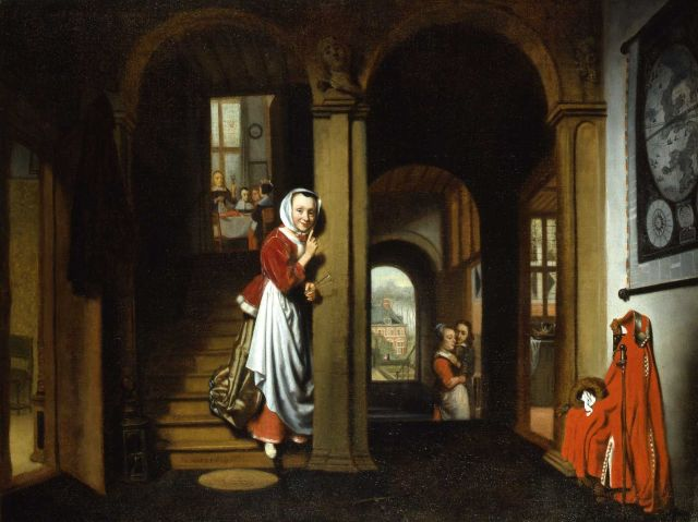 a painting of a maid eavesdropping on a couple