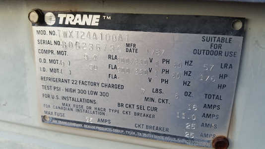 Ac Condenser Capacitor Wiring Diagram Our Installs 1987 Trane Twx724a100a1 Replaced With New