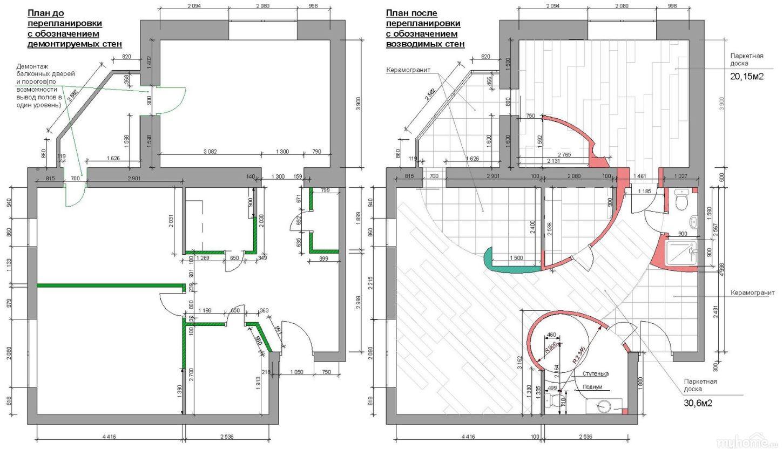Планы квартиры после перепланировки и переустройства