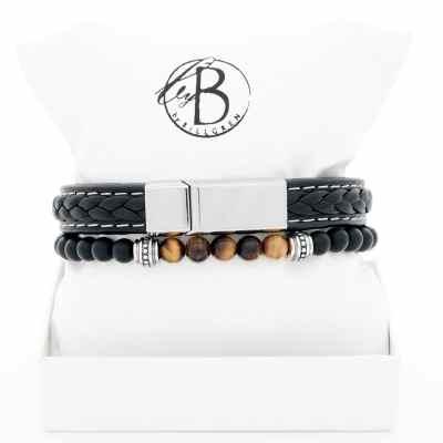 Armbandsset svart läder/tigeröga