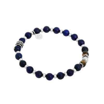 Beadsarmband lapis lazuli/tigeröga