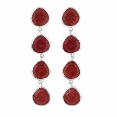 Multi Stone örhängen, röd kvarts/silver