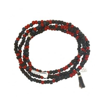 4-radigt beadsarmband, gitarr/svart-röd