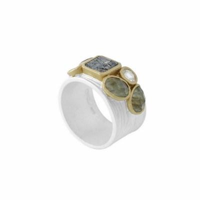 Black Waterfall ring, silver