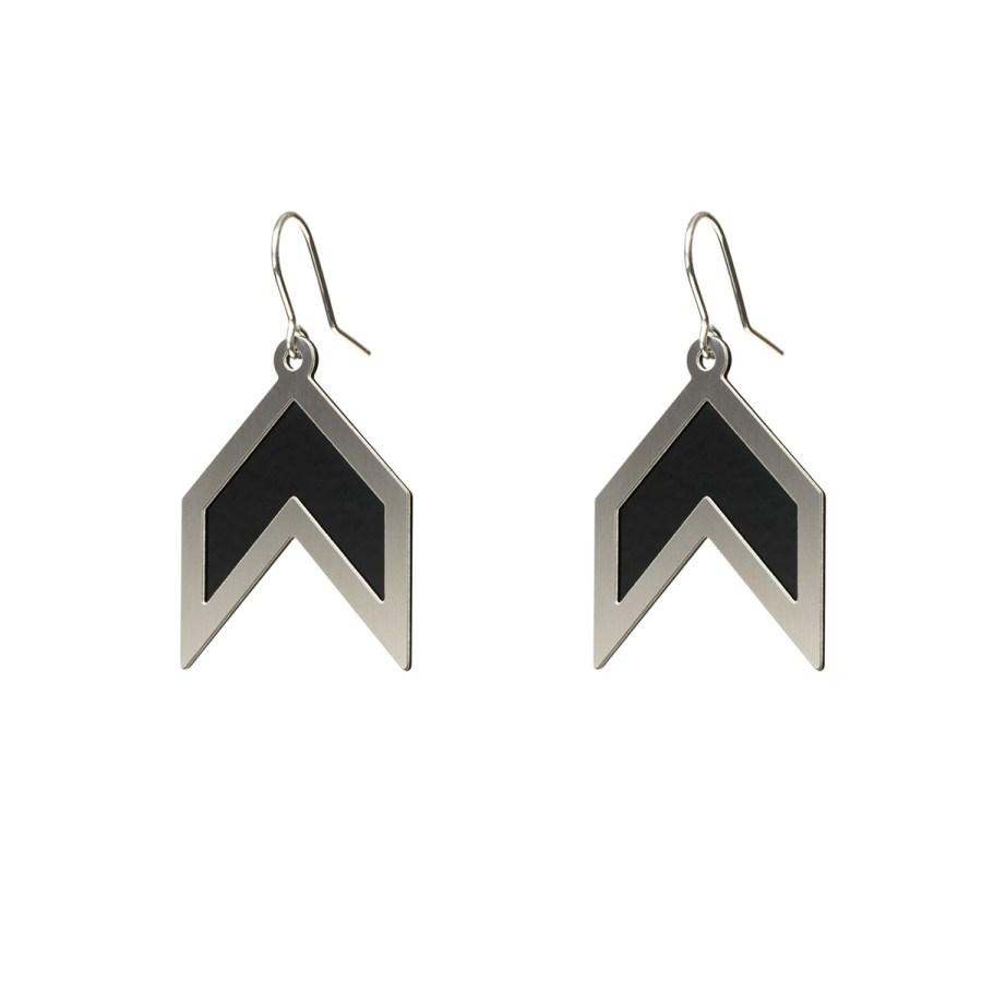 Graphic Angles Örhängen, svart/stål