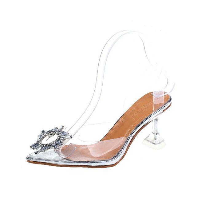 nouveau ete transparent sandales femmes femmes elegant ciel talons hauts bling cristal chaussures femme sexy dames fete club robe chaussures 7cm