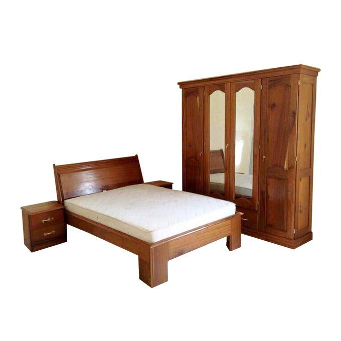ensemble chambre a coucher simple double lit armoire 4 battants deux commodes