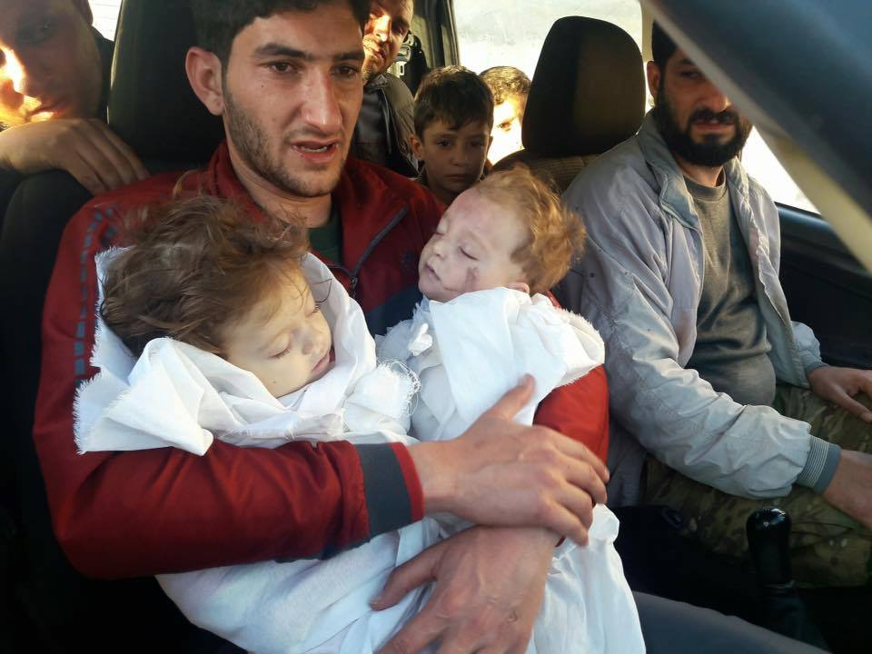 Image result for image of children attacked by chemical weapon on April 4, 2017