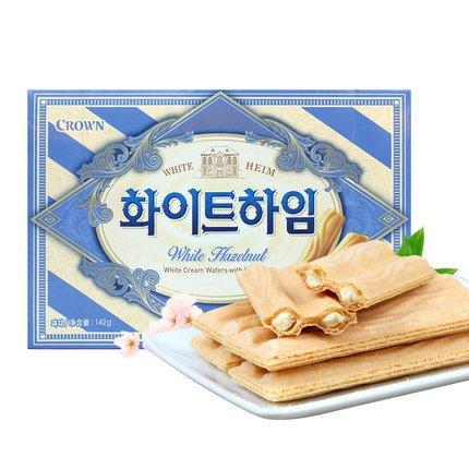 【韓國】Crown皇冠威化捲心酥-白巧克力香草口味(15g*9入) - 歪國零食嘴|世界必吃零食排行榜