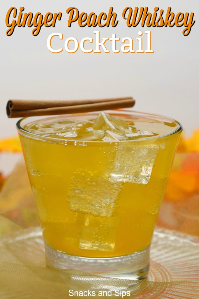 glass containing cocktail with decorative cinnamon stick on edge near fall decor
