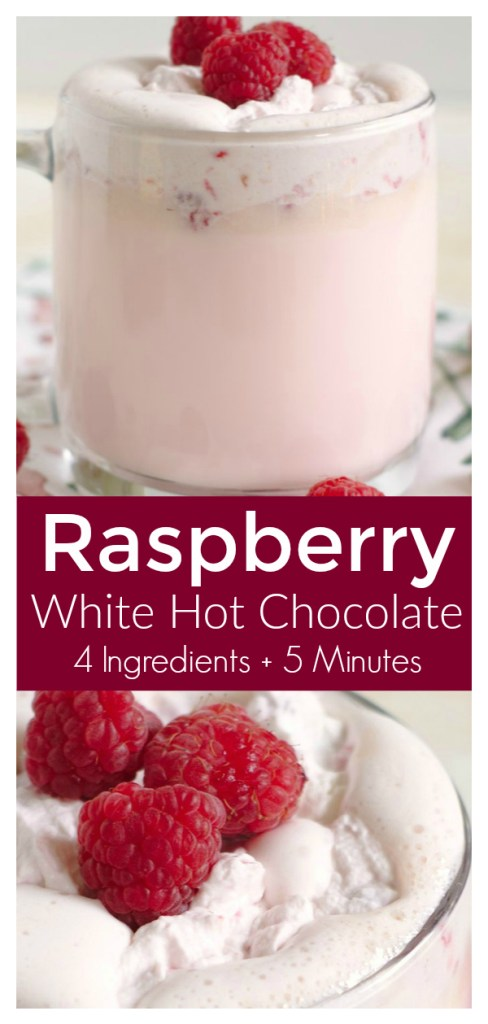 Raspberry White Hot Chocolate – Enjoy this gorgeous pink drink right at home with just 4 simple ingredients. This hot chocolate is perfect for Valentine's Day! Valentine's Day Drink Recipe | Valentine's Day Recipe | White Hot Chocolate Recipe #drink #recipe #valentinesday #hotchocolate