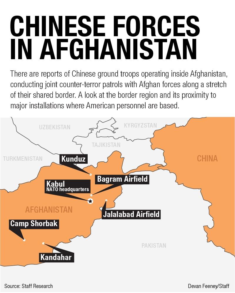 map chińskich żołnierzy w Afganistanie