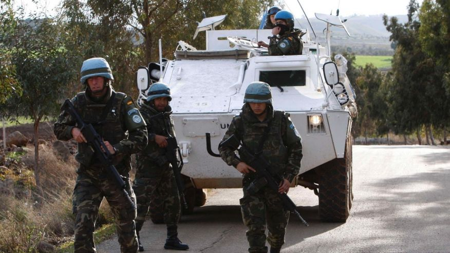 Spanish forces conducting a UN peacekeeping mission in Lebanon.