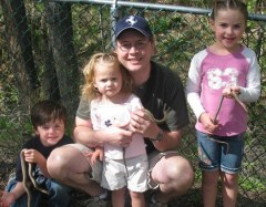 Jamison loves herping with his kids.