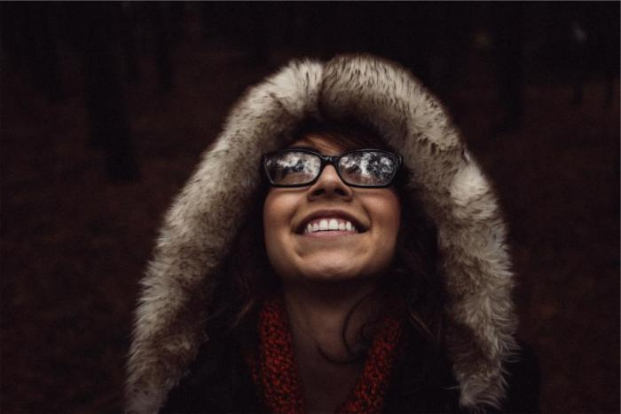 girl, woman, smiling, happy, eyeglasses, fur, hood, people