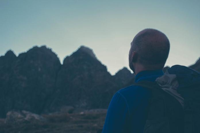 guy, man, thinking, looking, backpack, fitness, exercise, hiking, trekking, mountains, outdoors, nature
