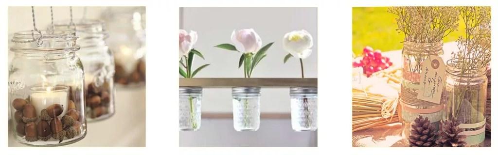decorar con tarros de cristal