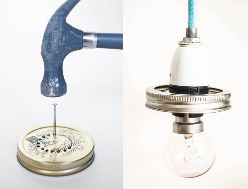 lámpara con tarro de cristal