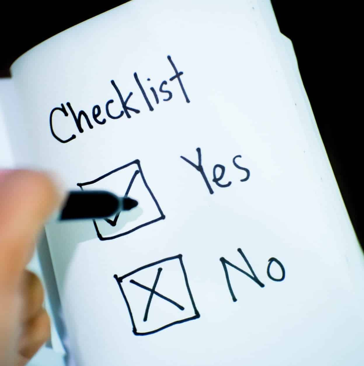 Checklist yes no yes aangevinkt