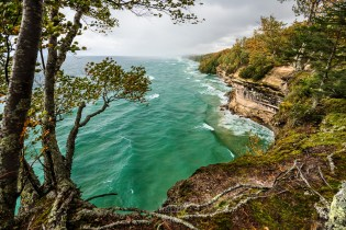 A lake effect storm blows in off Lake Superior and into the cliffs of Pictured Rocks