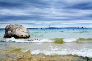 Photo: McGulpin Rock and the Mackinac Bridge in Lake Michigan